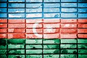Azerbaijan painted on old brick wall