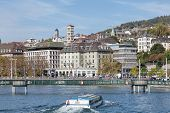Zurich, View On Central Square Across The Limmat River