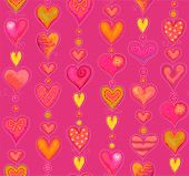 Seamless vertical pink background of hearts in watercolor style, vector illustration of Valentines Day.