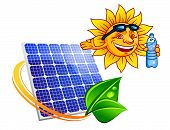 Solar Panel With Cartoon Sun Eco Concept