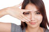 Young Asian Woman Smile Peeking Though Her Fingers
