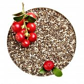 Chia seeds closeup and forest berries, cowberry .