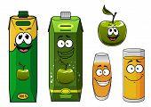 Happy Cartoon Apple Juice