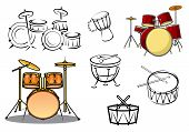 stock photo of drum-set  - Drum sets timpani snare drum bass drum and congas in cartoon and sketch style for percussion and music design - JPG