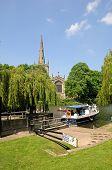 Boat by lock, Stratford-upon-Avon.