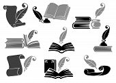 Books With Feather Icon Set