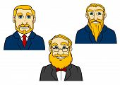Portraits Of Aged Men In Cartoon Style
