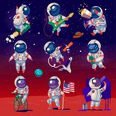Set Of Cute Astronauts In Space
