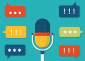 Vector Flat Illustration Of Voice Data. Task Management By Voice
