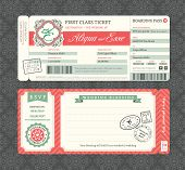 Vintage Boarding Pass Wedding Invitation Template