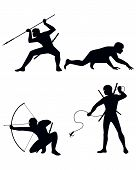 pic of ninja  - Vector illustration of a four ninja silhouettes - JPG