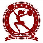 Cheerleader badge or cheer logo