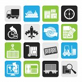 Silhouette shipping and logistics icons