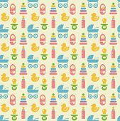 Seamless Colored Baby Items Pattern