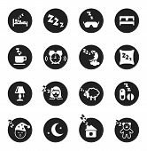 pic of sweet dreams  - Set of black round icons with white silhouettes about sweet dreams and bed time - JPG