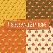 Kids retro seamless patterns with rockets and car, horse, strength