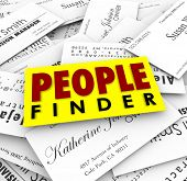 People Finder words on business cards to illustrate a recruiter finding qualified candidates for a new job or employer finding skilled workers