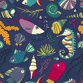 picture of shell-fishes  - Vector seamless pattern with hand drawn fishes - JPG