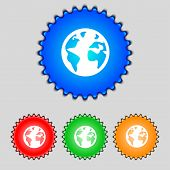 Globe Sign Icon. World Map Geography Symbol. Globes On Stand For Studying. Set Colur Buttons. Vector