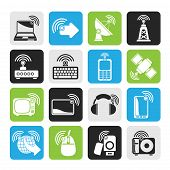 Silhouette wireless and technology icons