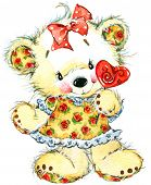Valentine's Day and cute white teddy bear