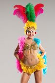 picture of samba  - Samba dancer in traditional carnival stage costume