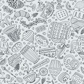 picture of teapot  - Cute seamless pattern with sweets and desserts - JPG