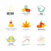 stock photo of ashtanga vinyasa yoga  - Set of logos for yoga studio or meditation class - JPG