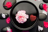 red heart against white and pink carnation floating in a black bowl surrounded by black stones and petals