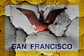 Flag Of San Francisco Painted On Cracked Wall