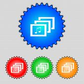 Mp3 Music Format Sign Icon. Musical Symbol. Set Colourful Buttons. Vector