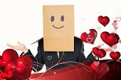 Businessman shrugging with box on head against valentines heart design