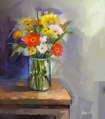Glass Vase With  Gerbera Flowers. Oil Painting