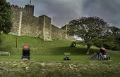 pic of cannon-ball  - Medieval Dover castle with cannons in the foreground - JPG