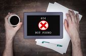 stock photo of not found  - Tablet displaying an error 404 not found - JPG