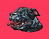 stock photo of pitbull  - Vector illustration or drawing of a pitbull dog - JPG