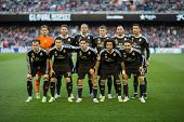 VALENCIA, SPAIN - JANUARY 4: Real Madrid players during Spanish League match between Valencia CF and Real Madrid at Mestalla Stadium on January 4, 2015 in Valencia, Spain