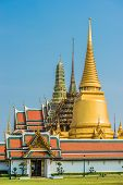 Grand Palace courtyard western porch Wat Phra Kaew temple of the emerald buddha at Bangkok Thailand