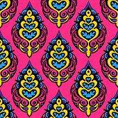 Pink Colorful Damask seamless floral vector design