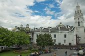 Quito, Ecuador - May 2014: People Gathering Outside of The Metropolitan Cathedral of Quito