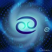 Space spiral with astrological Cancer symbol