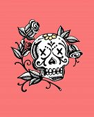image of day dead skull  - Hand drawn vector illustration or drawing of a representation of dead - JPG