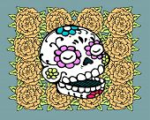 picture of day dead skull  - Hand drawn vector illustration or drawing of a representation of dead - JPG