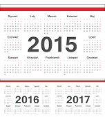 Vector Polish Circle Calendars 2015, 2016, 2017