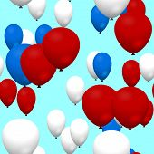 Red blue white air party balloons