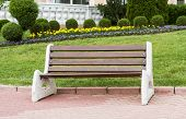 Wooden Park Bench At A Park
