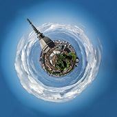 stock photo of turin  - Panoramic view of Mini planet or globe of Turin city center - JPG