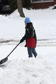 stock photo of snow shovel  - Lady shoveling the deep snow off her driveway after a snow storm.