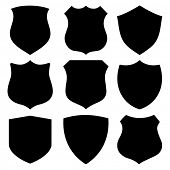 Collection of 9 black shield outlines ideal for artwork