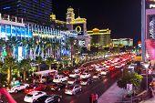 Night Traffic Jam In Vegas